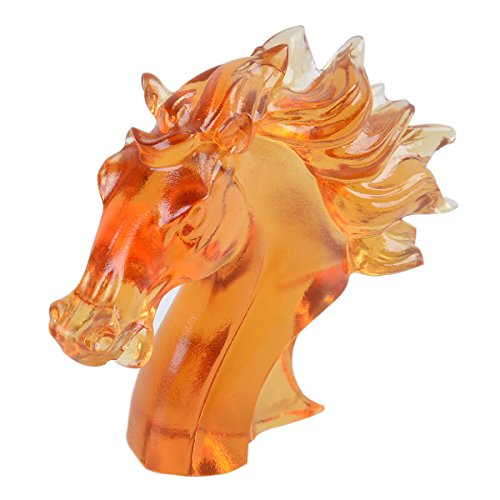 Liuli Amber Crystal Horse Head Figurine Ornament Table Decorations Paperweight