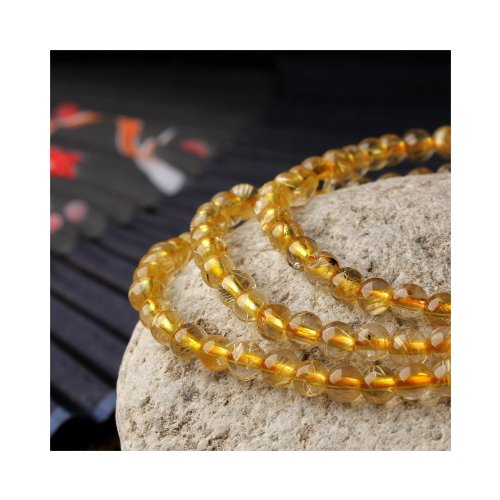 O-stone 2A Bracelet en quartz cristal rutil Cheveux de Vénus dorés avec 108 chapelets de Mala 5mm Pierre de protection Sagénite
