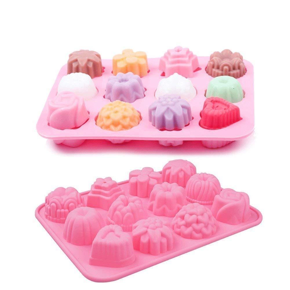 2 moldes de silicona con 12 cavidades de flores para jabón, chocolates, dulces, muffins, molde para horno: Amazon.es: Hogar