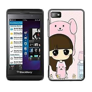 - Cartoon Girl Cute - - Monedero pared Design Premium cuero del tir¨®n magn¨¦tico delgado del caso de la cubierta pata de ca FOR Blackberry Z10 Funny House