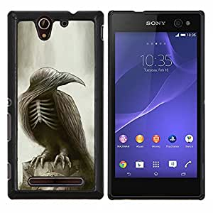 EJOOY---Cubierta de la caja de protección para la piel dura ** Sony Xperia C3 ** --Gótico Cuervo Cráneo Esqueleto