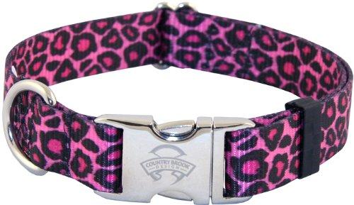 Country Brook Design Pink Leopard Premium Dog Collar - Large