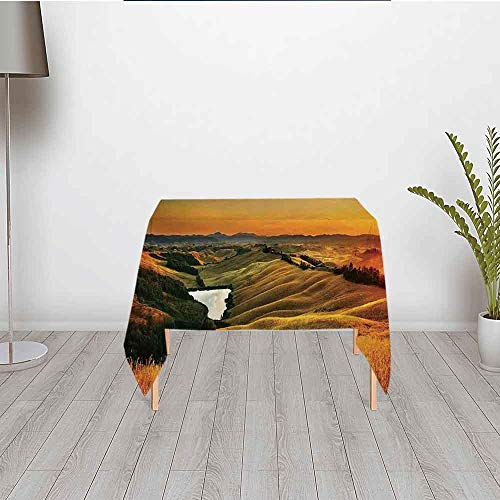 Vw Valley Wash - TecBillion Tuscan Decor No Fading Satin Tablecloth,Magical Photo of Mediterranean Rural in The Valley with a Small Lake Europe Nature for Rectangle Table Kitchen Dinning Party,31.5''W x 31.5''H