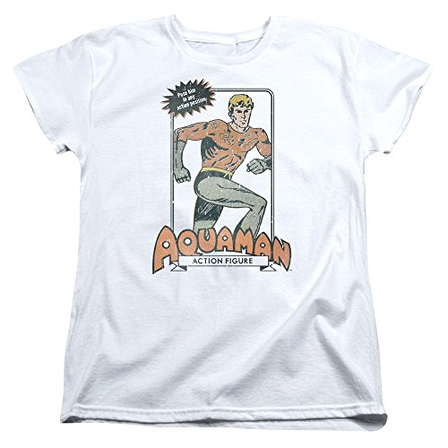 Trevco Dc-Am Action Figure - Short Sleeve Womens Tee - White, Large