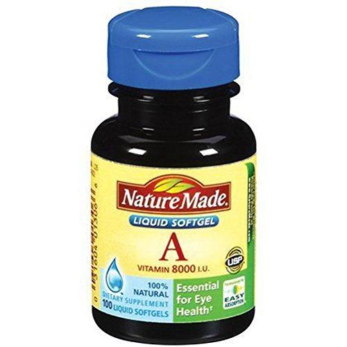 Nature Made Vitamin A, 8000 IU, 100 Liquid Softgels
