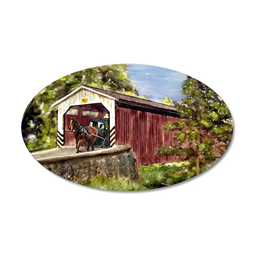 CafePress - Amish Buggy On Covered Bridge Wall Decal - 20x12 Oval Wall Decal, Vinyl Wall Peel, Reusable Wall Cling (Pa Bridge Covered)