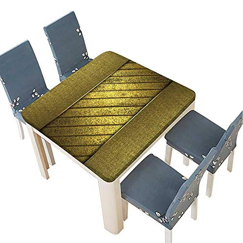 - PINAFORE Tablecloth Waterproof Polyester Table Golden Texture with Gold Plate in The Middle Tablecloth for Wedding/Party 72.5 x 72.5 INCH (Elastic Edge)