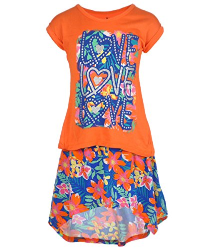"""One Step Up Big Girls' """"Tropical Love"""" 2-Piece Outfit - orange, 10 - 12"""