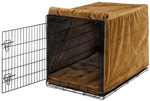Bowsers Luxury Crate Cover, Large, Pecan Filigree