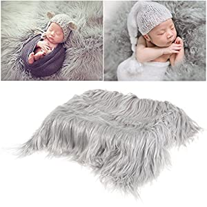 OULII Baby Photo Props Soft Fur Quilt Photographic Mat DIY Newborn Baby Photography Wrap-BAby Photo Props Favors (Light Grey)