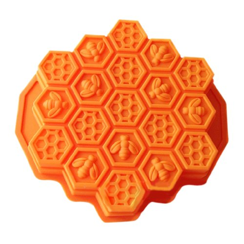 Wholeport Honeycomb Cake Molds for Kids 17-Hole Silicone Baking Cake Mold Bakeware (Bee Soap Mold)