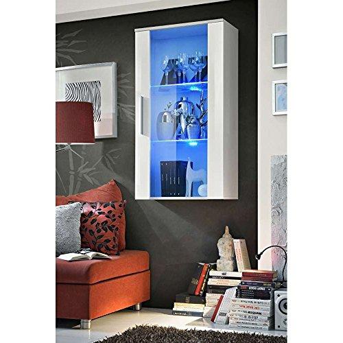 JUSThome NEO II rechts Vitrine Hängevitrine Glasvitrine (HxBxT): 110x60x29 cm Weiß Matt / Weiß Hochglanz