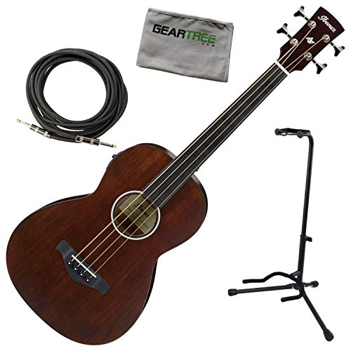 Ibanez AVNB1FE BV Fretless 25in Parlor Acoustic-Electric Bass w/Stand, Cable, Cl