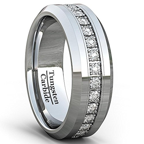 Polished Tungsten Wedding Band (Mens Wedding Band Classic 8mm Tungsten Ring Polished Fully Stacked Cubic Zircon Beveled Edge Comfort Fit (7.5))