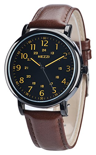 White Watches Men Leather Band Quartz Watch Full Arabic Numerals Dial Easy Read with Luminous Watch Hands Design Waterproof Fashion Business Wristwatches Gift for Men (lp-289-brown)