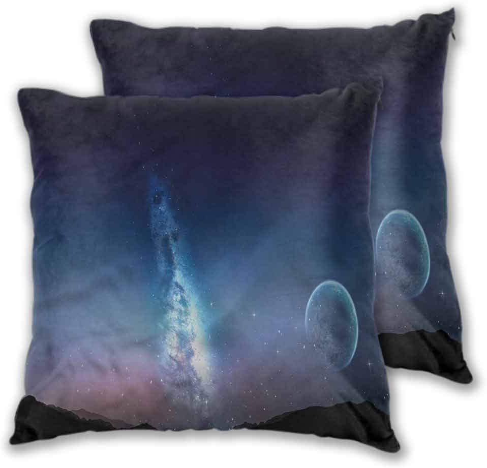 Anyangeight Printed Throw Pillow Cover, Space Nebula Gas Cloud with Moon Soft Soild Decorative Home Decor for Sofa Bedroom, 2PCS - W20 x L20 inch