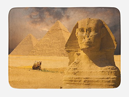 Ambesonne Egyptian Bath Mat, Sphinx Face with Other Pyramids in Egypt Old Historical Monument, Plush Bathroom Decor Mat with Non Slip Backing, 29.5