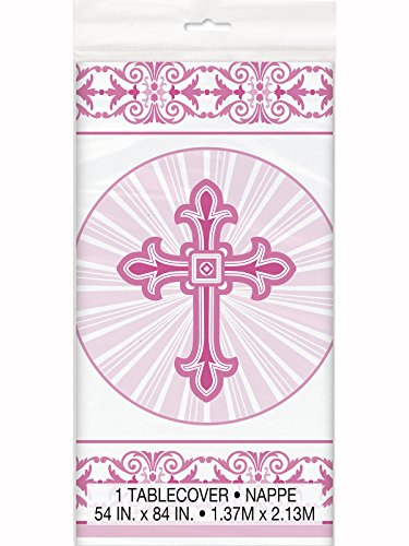 Communion Table Cover (Radiant Cross Pink Religious Plastic Tablecloth, 84