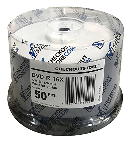(200) CheckOutStore Premium 16x DVD-R 4.7GB in Spindle (Glossy White Inkjet Hub) by CheckOutStore