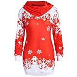 MERICAL Women Merry Christmas Snowflake Printed Tops Cowl Neck Sweatshirt Fashion Button Blouse