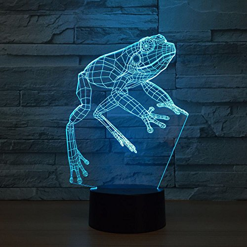 - Kabeto Frog Night Light 3D LED Lamp Toy Cartoon Gift 7 Colors Change Table Desk Lamp Nightlight Child Kids Loved Party Office Decor