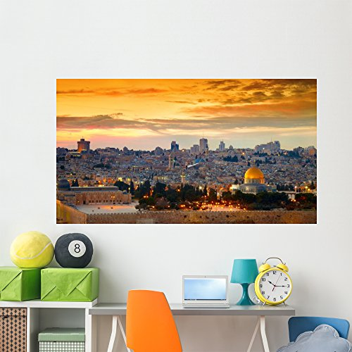 Wallmonkeys Panorama Jerusalem Old City Wall Mural Peel and Stick Graphic (72 in W x 40 in H) WM362578