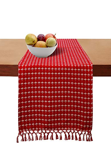 Cotton Clinic 2 Pack Table Runners Farmhouse 72 Inch Classic Woven Dobby, 14x72 Wedding Cotton Table Runners Fringes, Rustic Bridal Shower Decor Dining Table Runners Red White