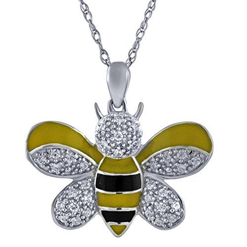 Sterling Silver 1/5cttw Diamond Yellow and Black Enamel Honey Bee Pendant