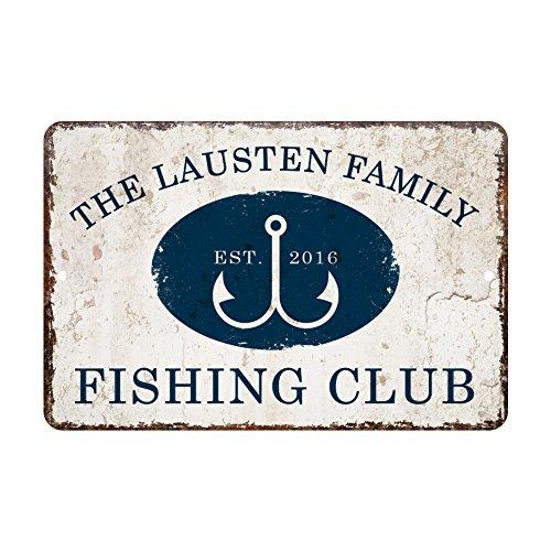 Personalized Vintage Distressed Look Fishing Club Metal Room Sign ()