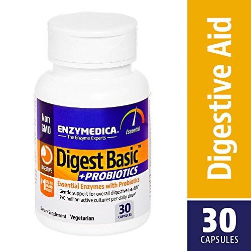 (Enzymedica, Digest Basic + Probiotics, Supports Digestion and Helps Ease Occasional Gas and Bloating, 750 Million CFU, Vegetarian, Non-GMO, 30 capsules (30 servings))