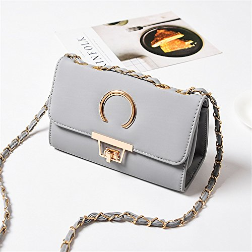 Bag Messenger Chain Sunbobo Pillow Simple Strap Bag Gray Lock Shoulder Shoulder PU Retro PPw6aqvS