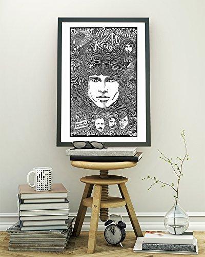 (Jim Morrison, Doors - Inspired Letterpress Art Print Poster -Detailed Pen and Ink Original Hand Drawing 11