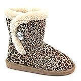 Brand New Brieten Kids Bling beads Button Short Snow Boots (1, Leopard)