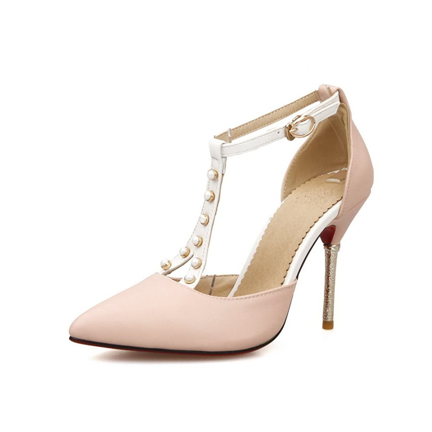 BalaMasa Ladies Outdoor High-Heels T Strap Imitated Leather Sandals