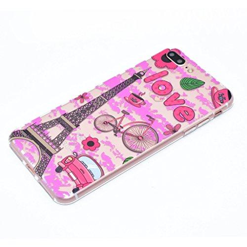 "iPhone 7 Plus Coque , Leiai Mode Tour Eiffel Transparent Ultra-mince Rose Nuage Silicone Doux TPU-PC Housse Gel Etui Case Cover pour Apple iPhone 7 Plus 5.5"""