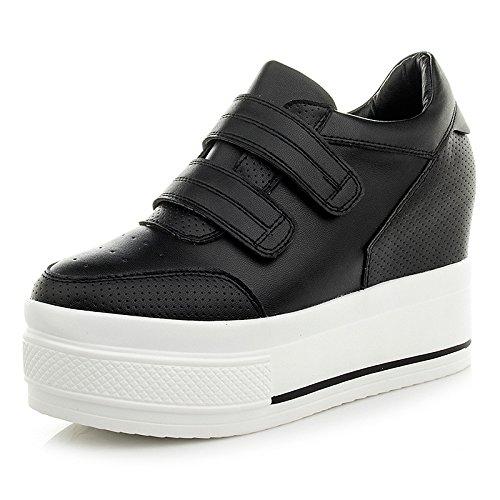 GTVERNH-El Aumento De Zapatos De Mujer Delgada El Muelle El Velcro Un Estudiante Bizcochos Grueso Solo Zapatos black