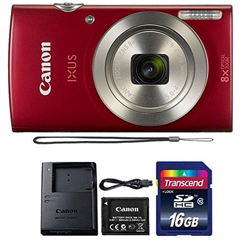 Canon IXUS 185 / ELPH 180 20MP Red Digital Camera + 16GB Memory Card