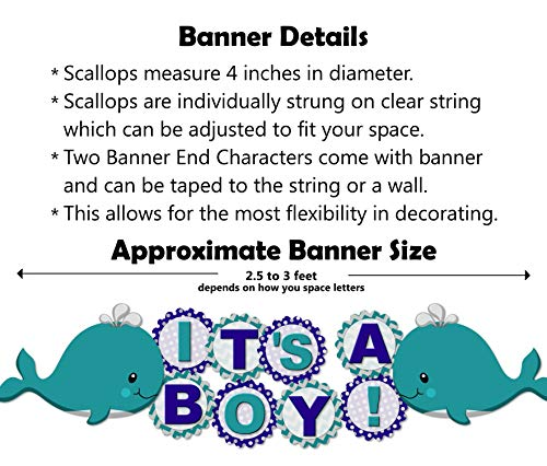 "Whale Baby Shower Banner Party Decoration Supplies for Boy -""IT'S A BOY!"" Garland - Handmade in USA"