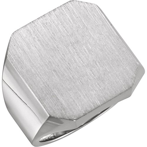 (Bonyak Jewelry 18K X1 White 20x18 mm Octagon Men's Signet Ring in 18k White Gold - Size 9.75)