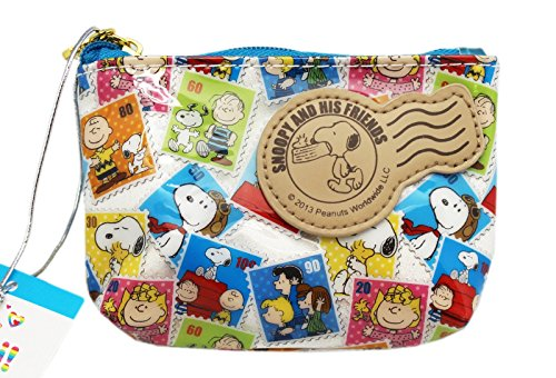 (Snoopy Postage Stamp Photo Design Vinyl Zipper Close Coin Purse)