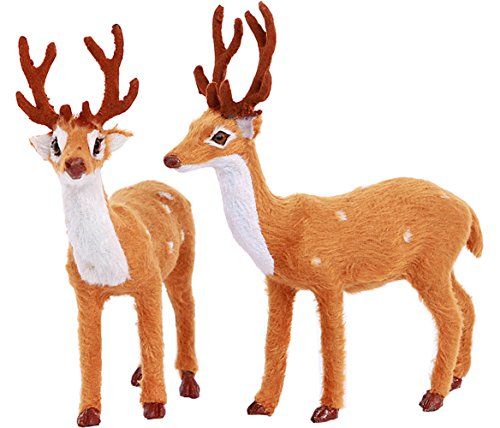 (Greencherry 8 Inch Xms Plush Standing Reindeer Christmas Deer Figurine Status Toy Setting For Home Decoration Pack of 2)
