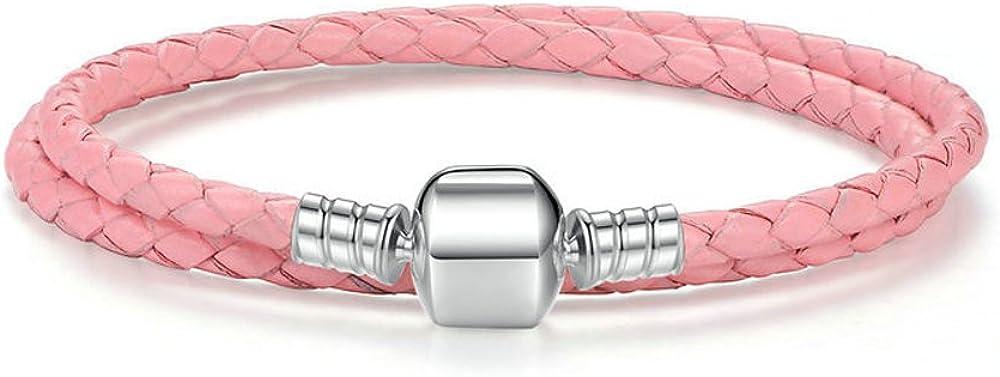Pulsera de cuero con doble trenzado y plata 925, estilo Pandora
