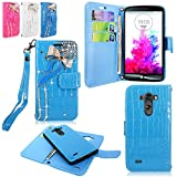 LG G3 Case - Cellularvilla Diamond Glitter Bow Design PU Leather Flip Wallet Pocket Card Slots Case and Detachable Hard Soft Back Cover with Hand Strap Wristlet Pouch for LG G3 (Baby Blue Bow Tie)