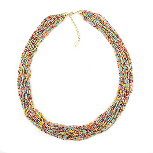 "Bocar Long Multiple Row Handmade Beaded Statement 33"" Necklace for Women with Gift Box (NK-10235-mix)"
