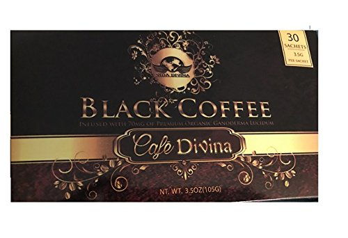 Full box of Cafe divina, weight loss Coffee, infused with 70 MG of premium organic Ganoderma lucidem make 30 cups by cafe divina