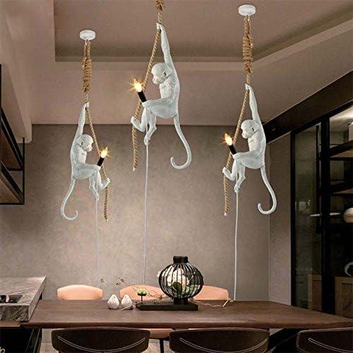 Pour Bar Caf/é Blanc - Lustre Moderne Singe Lustre R/ésine Culot E27 Restaurant D/écoration dart etc