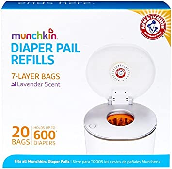 Munchkin Arm & Hammer Diaper Pail Snap, Seal and Toss Refill Bags, 20 Bags, Holds 600 Diapers 10924