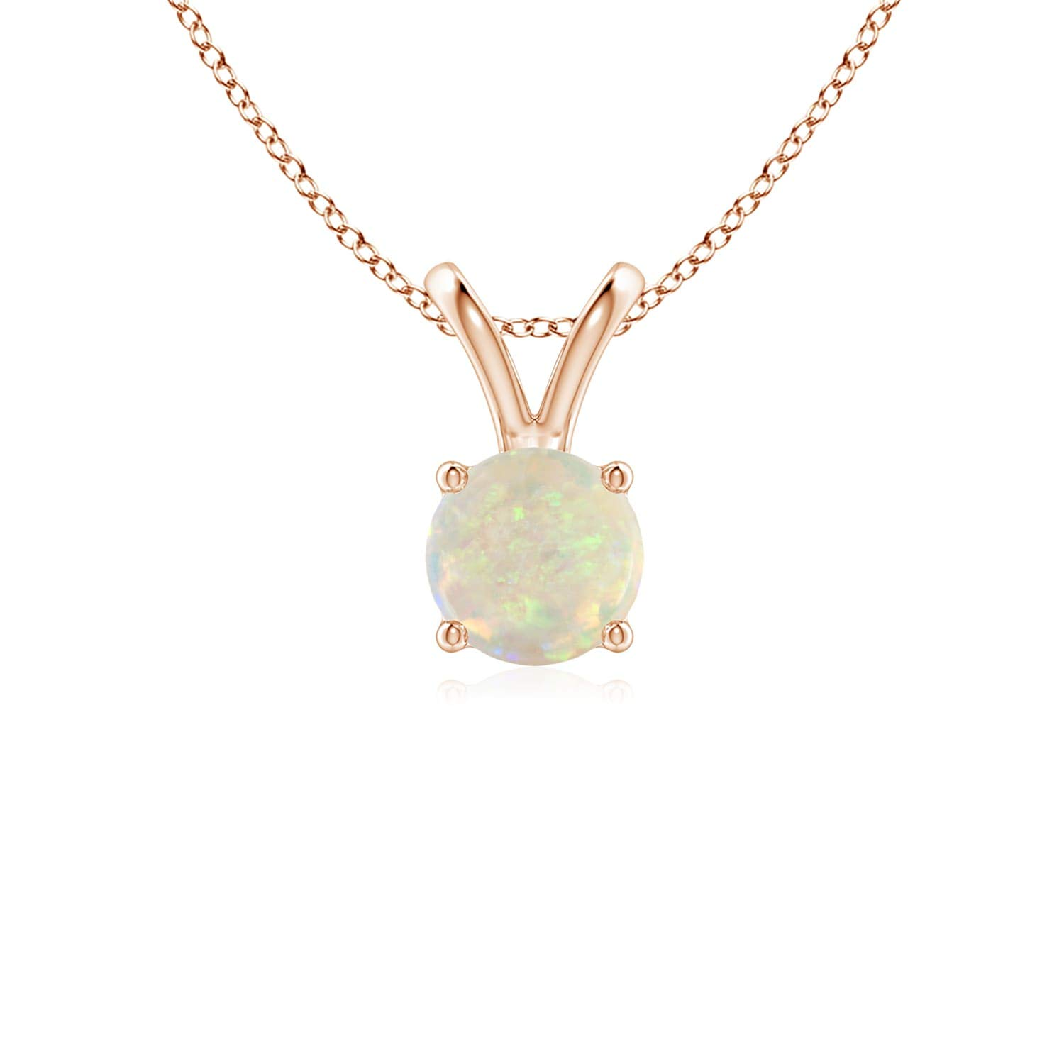 V-Bale Natural Round Opal Solitaire Pendant 5mm Opal