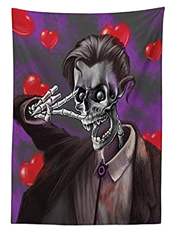 Skull Decor Tablecloth Romantic Skeleton Handsome Corpse Groom with Tuxedo Hearts in the Backdrop Dining Room Kitchen Rectangular Table Cover Black and - Carnival Tuxedo Collection