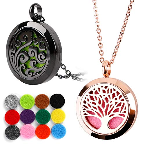 RoyAroma 2PCS Mini Diffuser Necklace, Cloud & Mini Tree of Life Aromatherapy Essential Oil Necklace,Two Patterns Pendant Locket Jewelry,23.6